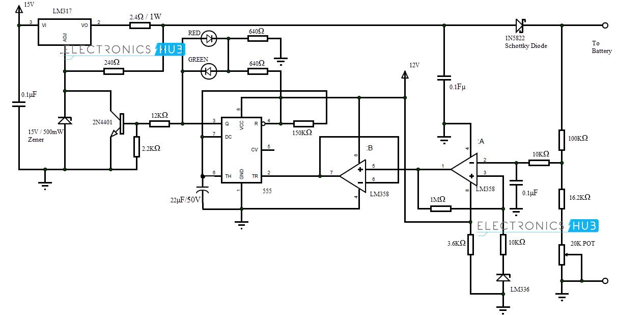 nicd battery charger circuit with lm317 circuit diagram