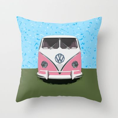 9f9dcc7c7 VW Kombi Love van Throw Pillow by Bruce Stanfield -  20.00 VW