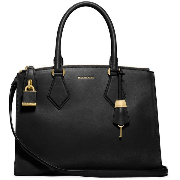 Michael Kors Collection Casey Large Satchel Bag (2.385 BRL) ❤ liked on Polyvore featuring bags, handbags, purses, bolsas, accessories, black, zipper tote, zip top tote bags, michael kors satchel and hand bags