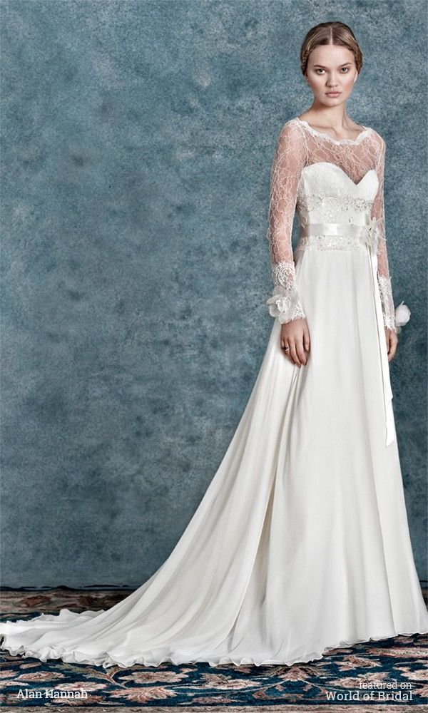 Felicia has the most exquisite lightly beaded French lace with a soft flowing silk chiffon skirt