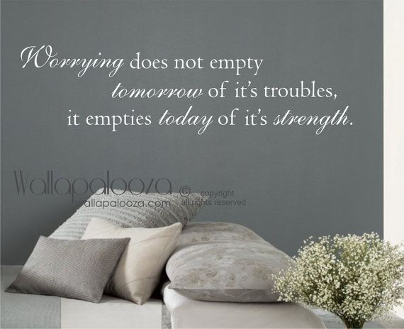 Inspirational Wall Quote  Worrying does not by WallapaloozaDecals, $36.00