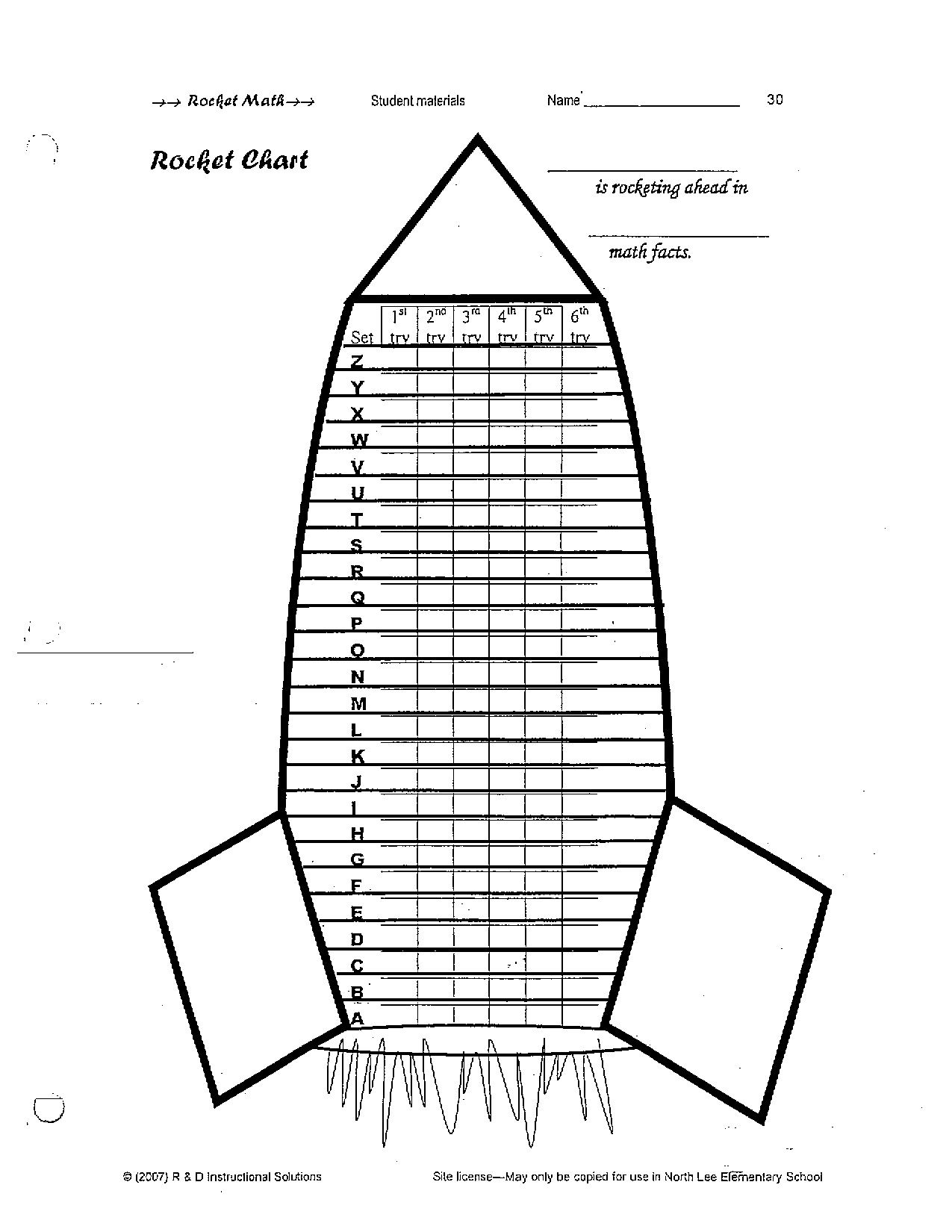 Rocket Math Chart