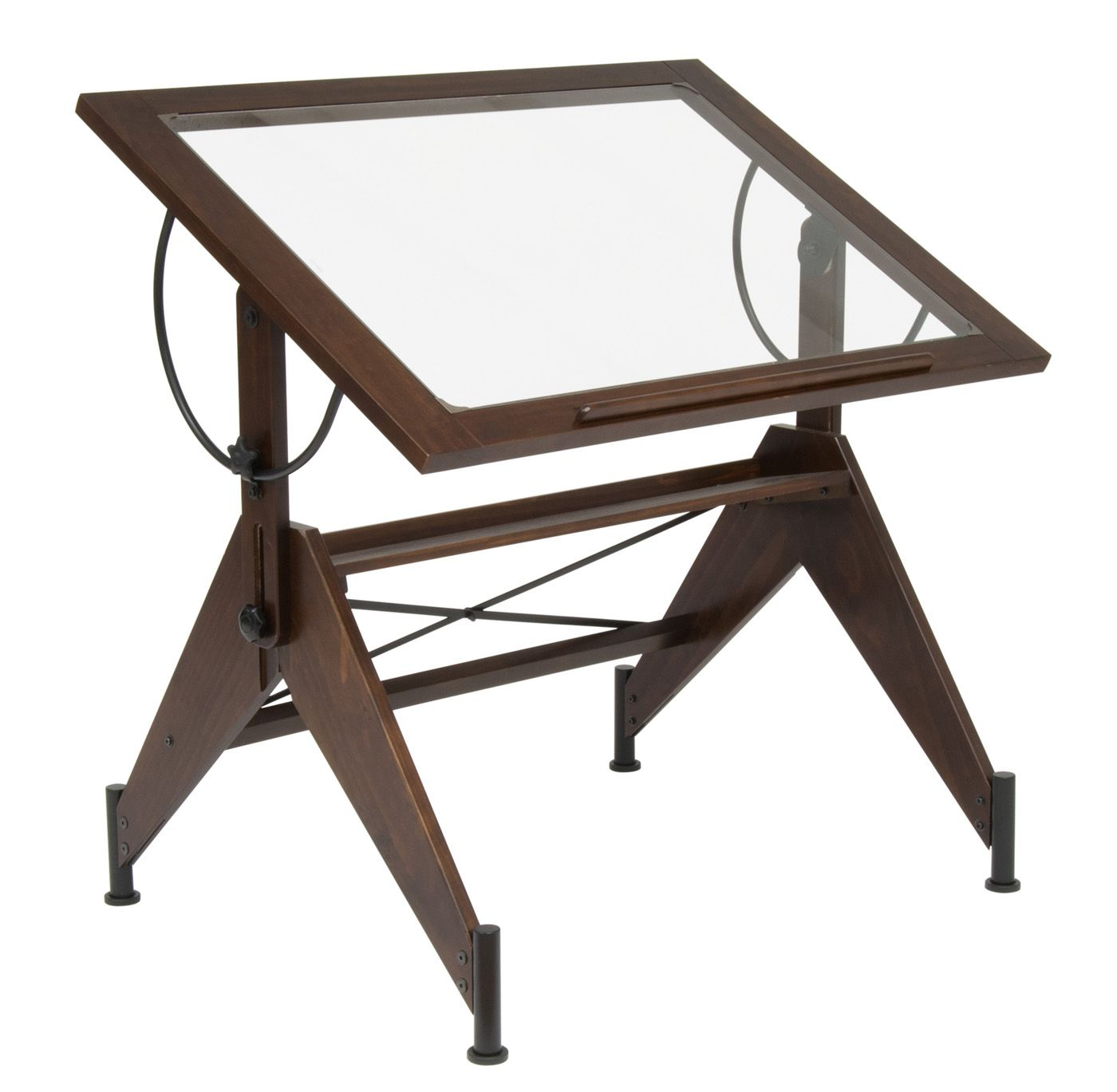 Aries Glass Top Drafting Table By Studio Designs Handsomely Designed And Quasi Steampunk This Glas Wood Drafting Table Glass Top Desk Antique Drafting Table
