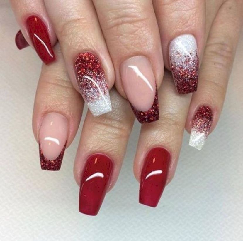 38 Chic Winter Red Acrylic Nail Designs To Copy Now Red Nail