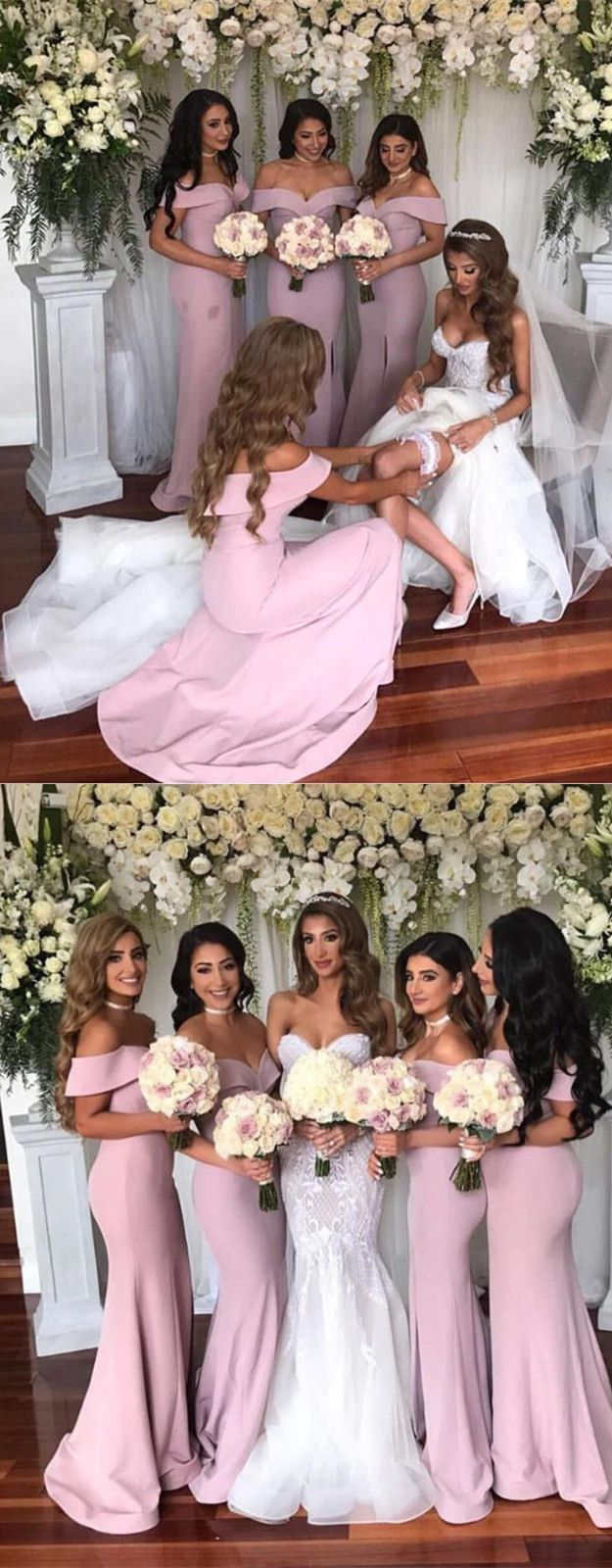 Off the Shoulder White Mermaid Long Bridesmaid Dress with Slit from ...