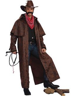 Distressed Printed Cowboy Trench Coat Adult Costumes Cowboy