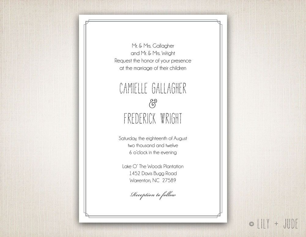 traditional wedding invitation plain border invitation diy digital