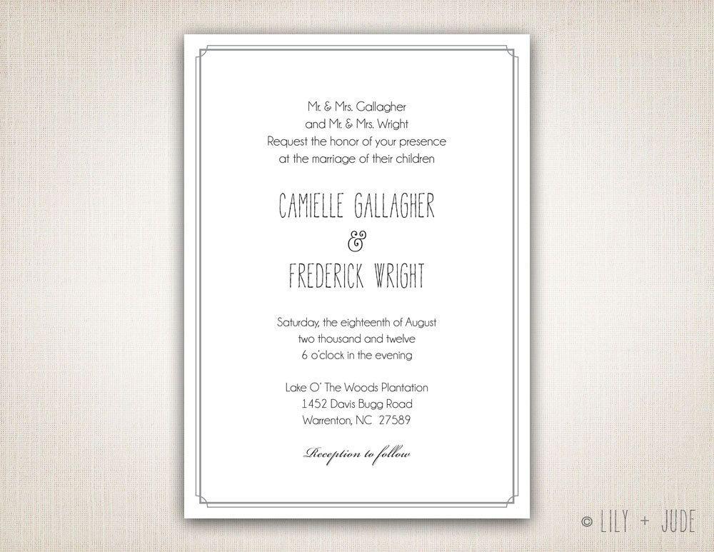 traditional wedding invitation plain border invitation diy digital, Wedding invitations