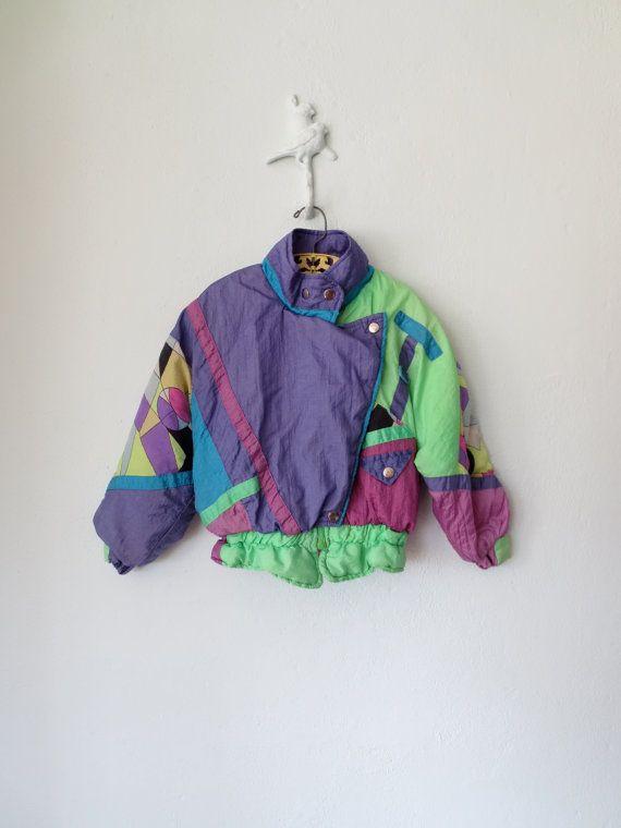 d7e830aad0d3 90s Neon Jacket    Vintage Kids Ski Coat    by sparvintheieletree ...