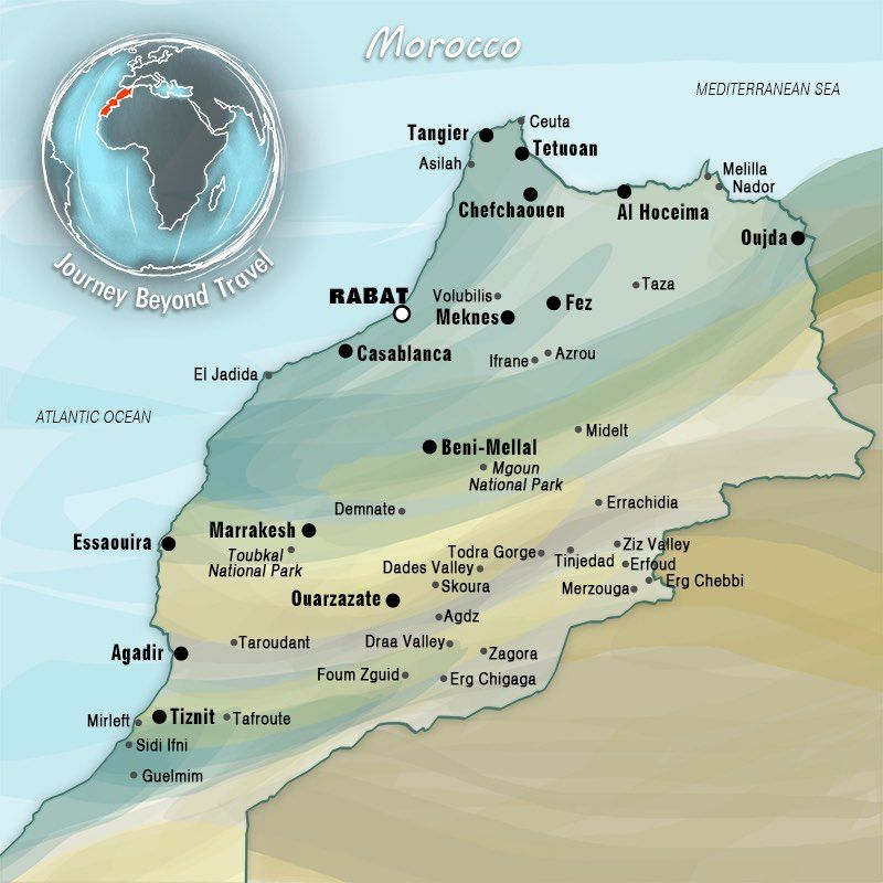 This map of Morocco allows you to see the various cities, towns ...