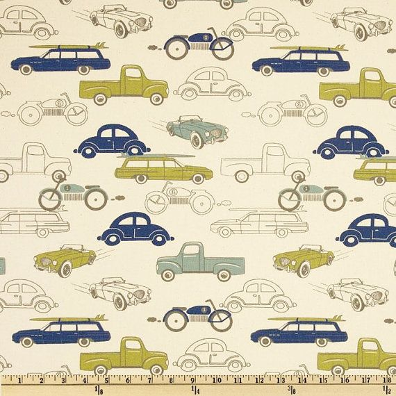 Retro Car Fabric by the yard rides antique classic muscle Premier Prints felix blue green taupe natural Home Decor 1 yard or more SHIPSFAST