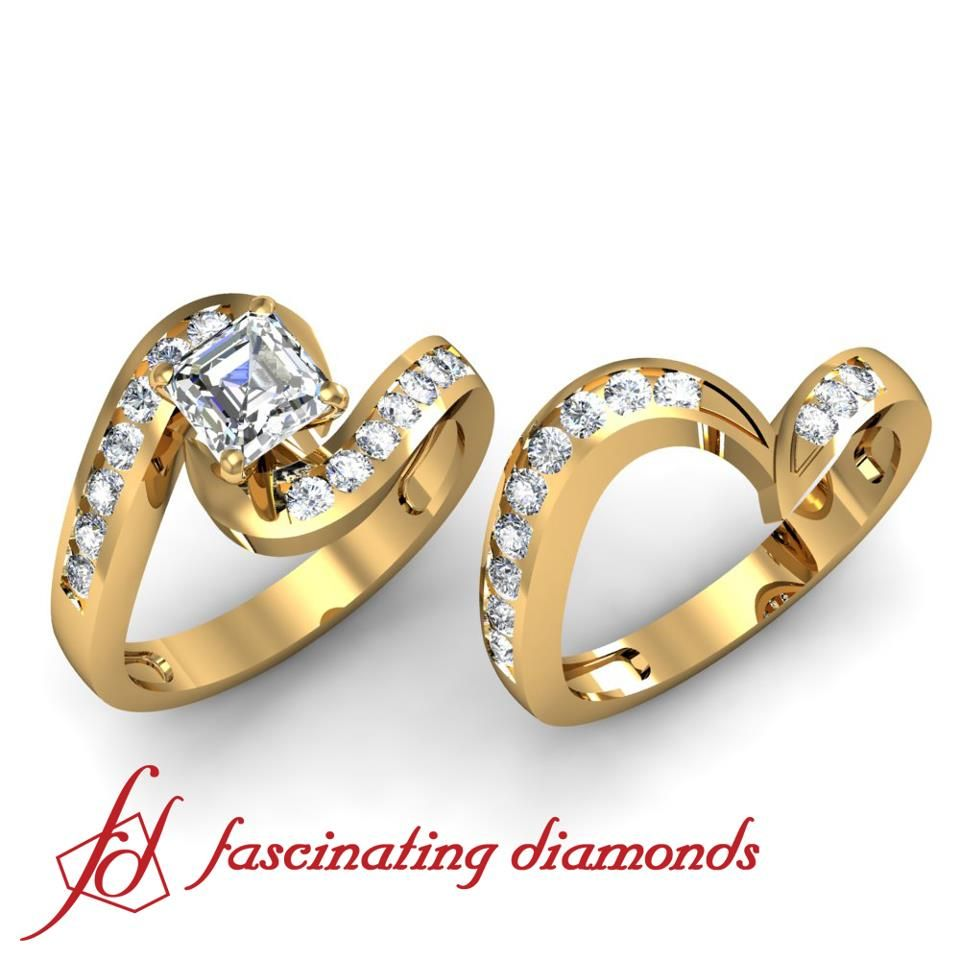 Channel diamond accent in twist wedding set engagement diamond