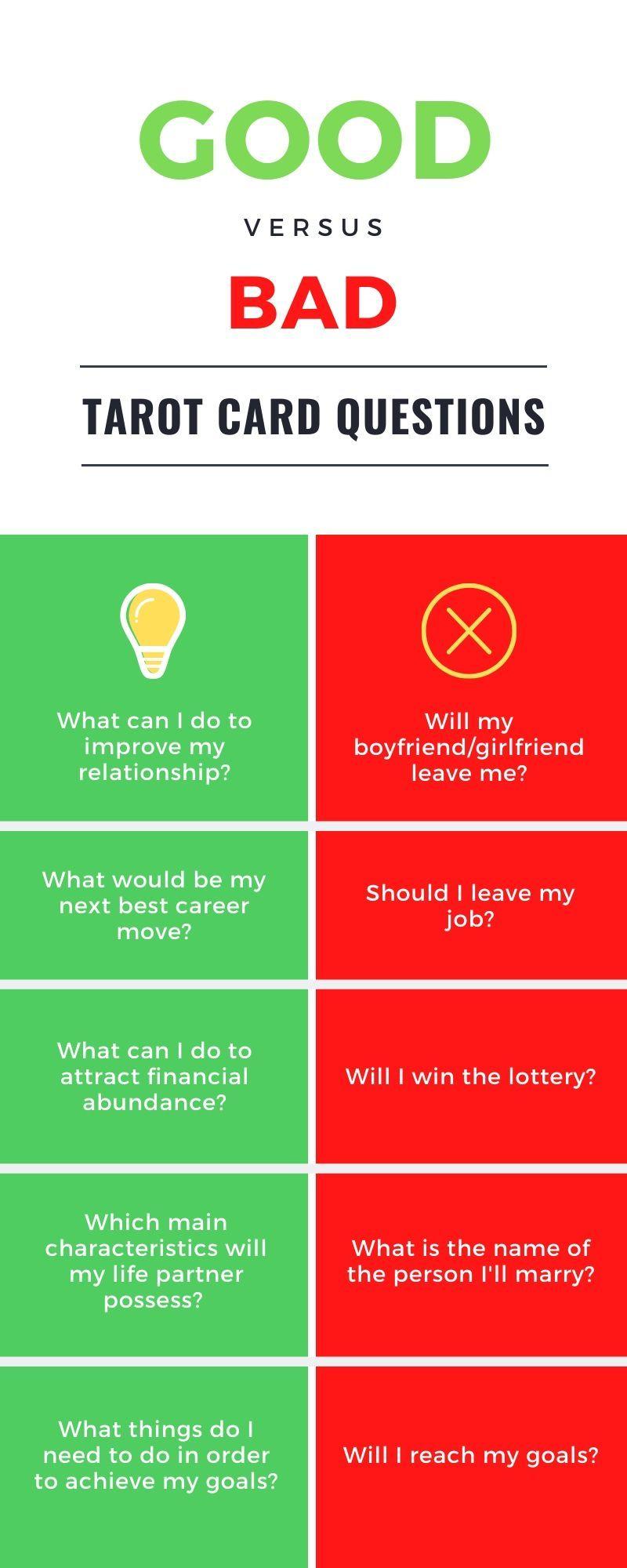 Good VS Bad Tarot Card Questions   Tarot cards for beginners ...