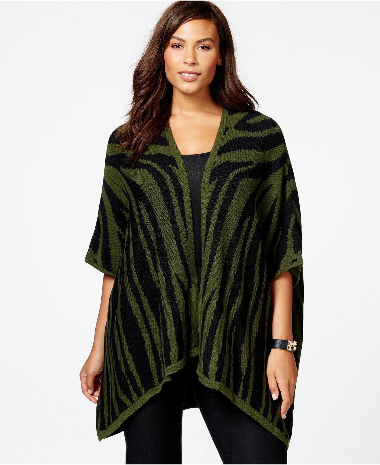 NY Collection Plus Size Zebra-Pattern High-Low Poncho Cardigan - Sweaters - Plus Sizes - Macy's