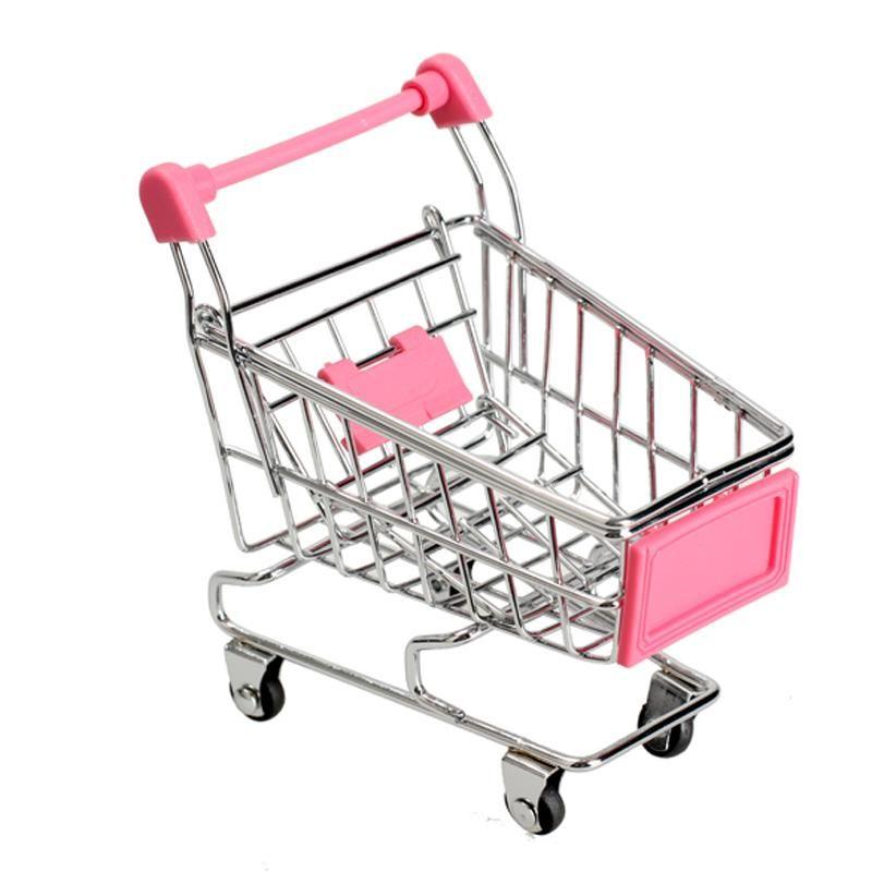 Mini Shopping Trolley Kids Play Toy Cart Supermarket Desk Tidy Storage Chrome