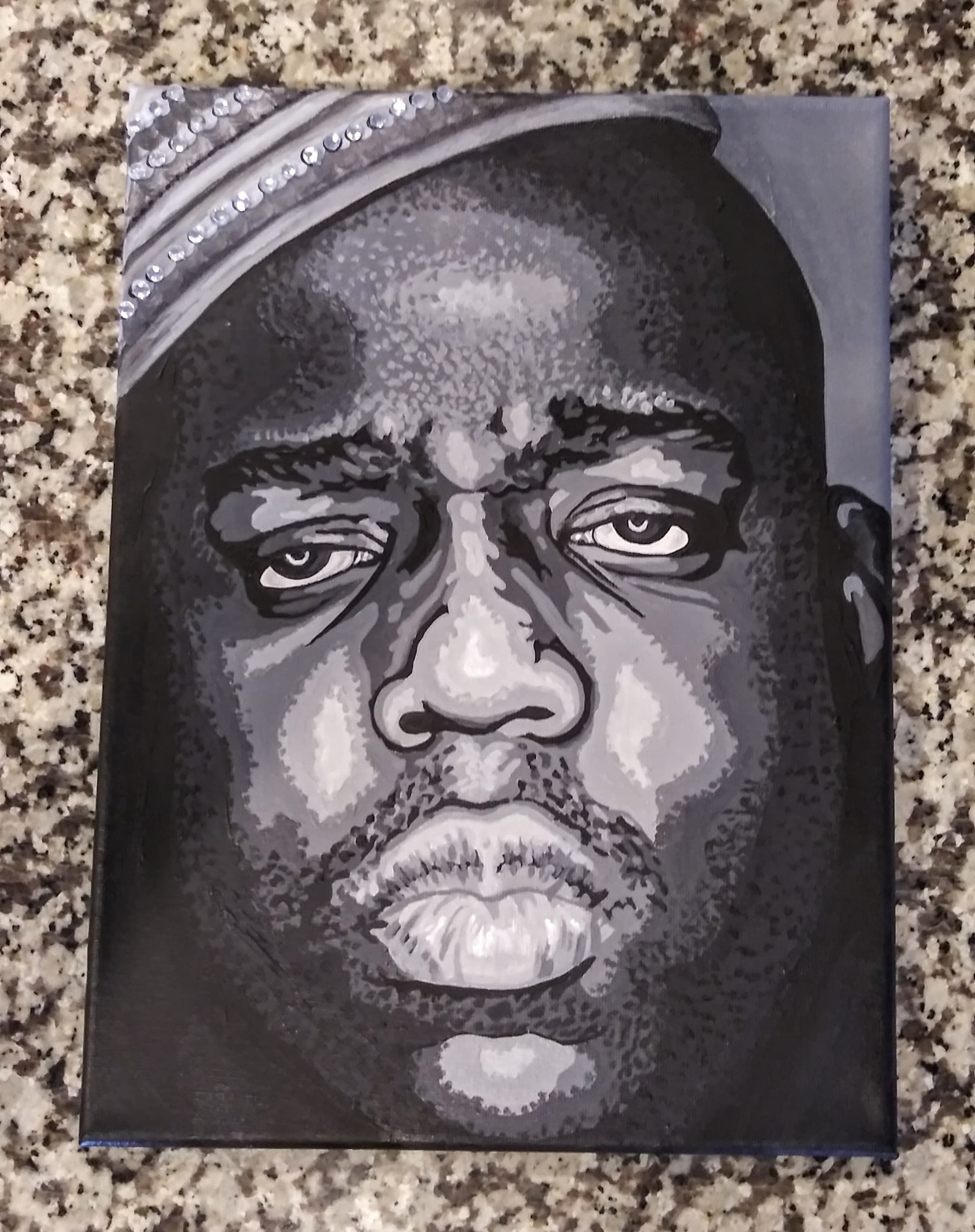Biggie smalls 9x12 acrylic canvas painting by amy wons www