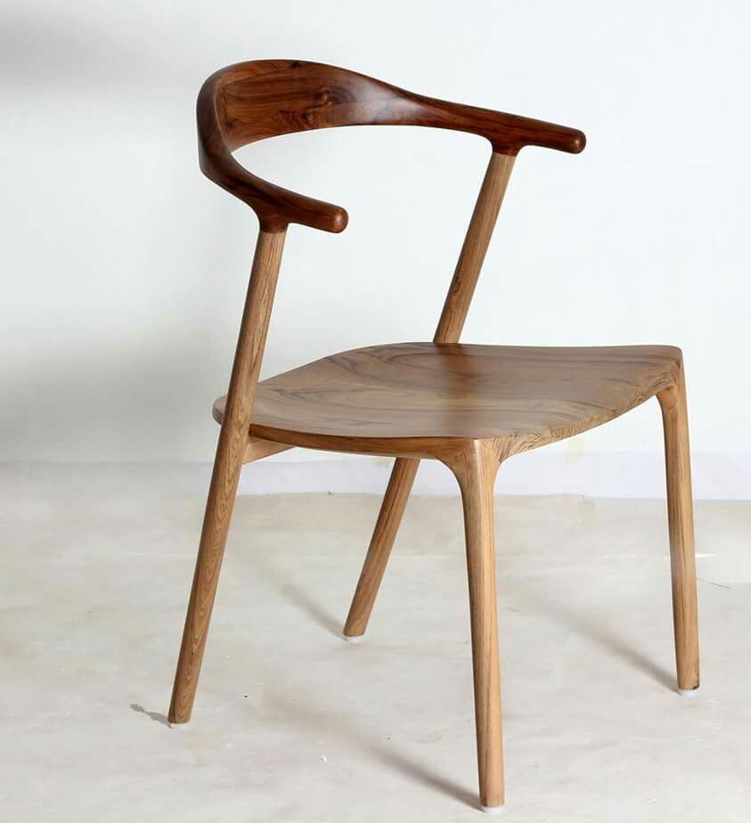 All teakwood chair in two toned natural wood finish, named Ploot (meaning floating). More images and pricing @ www.alankaram.in.