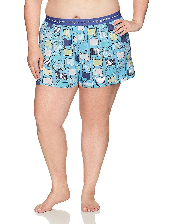 86336d80173 Women s Plus Size Colorful Print Short Sleep Boxer - Button Blue Cat ...