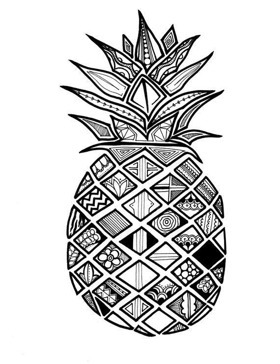 Pineapple Jujube Print Drawingillustration By Huskido