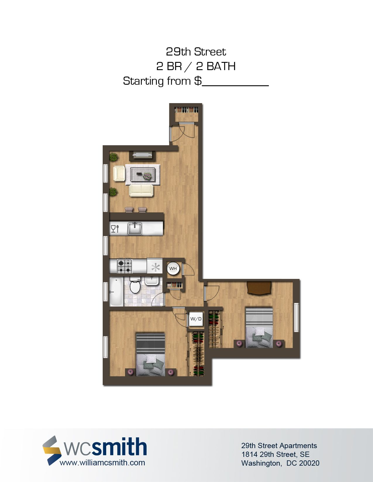 2 bedroom 2 bath floor plan the oaks in southeast washington dc wc smith apartments dc for 2 bedroom apartments washington dc