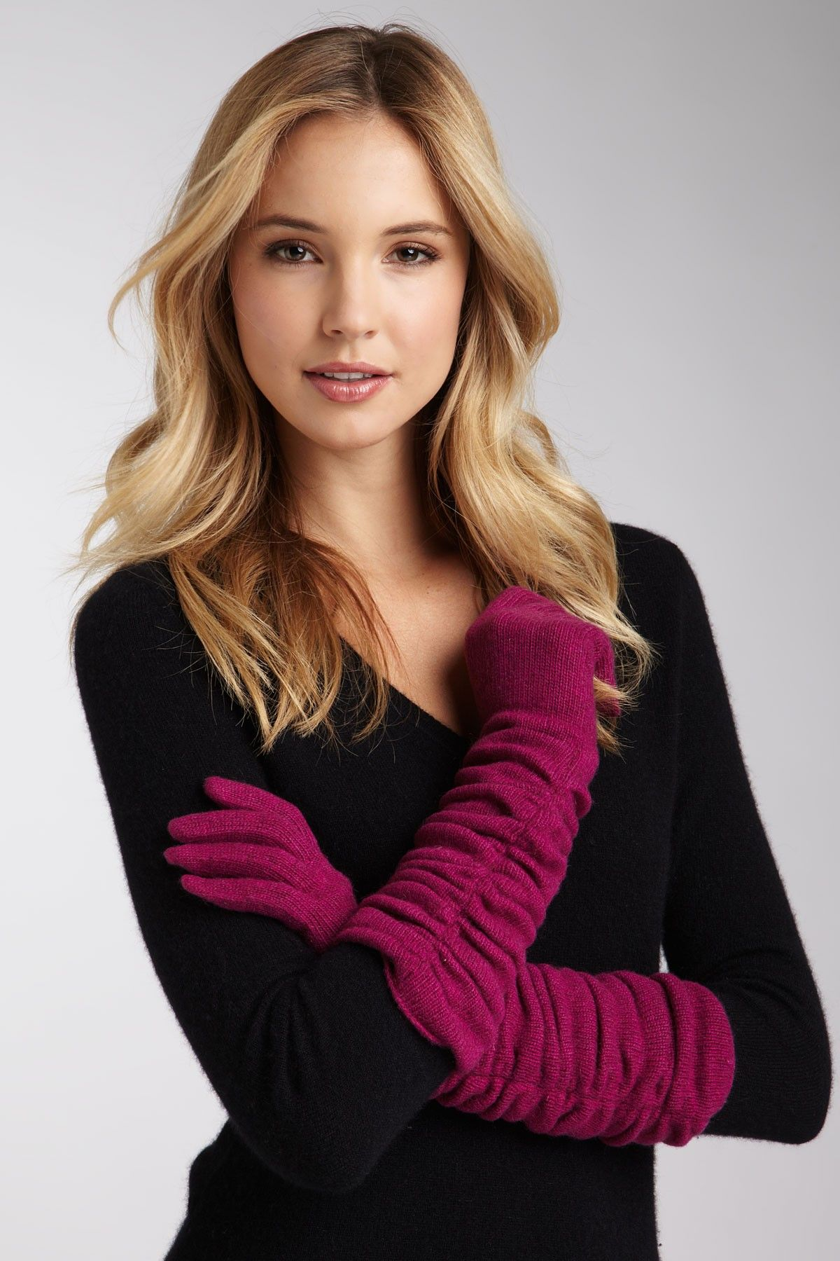 Portolano Long Ruched Cashmere Gloves