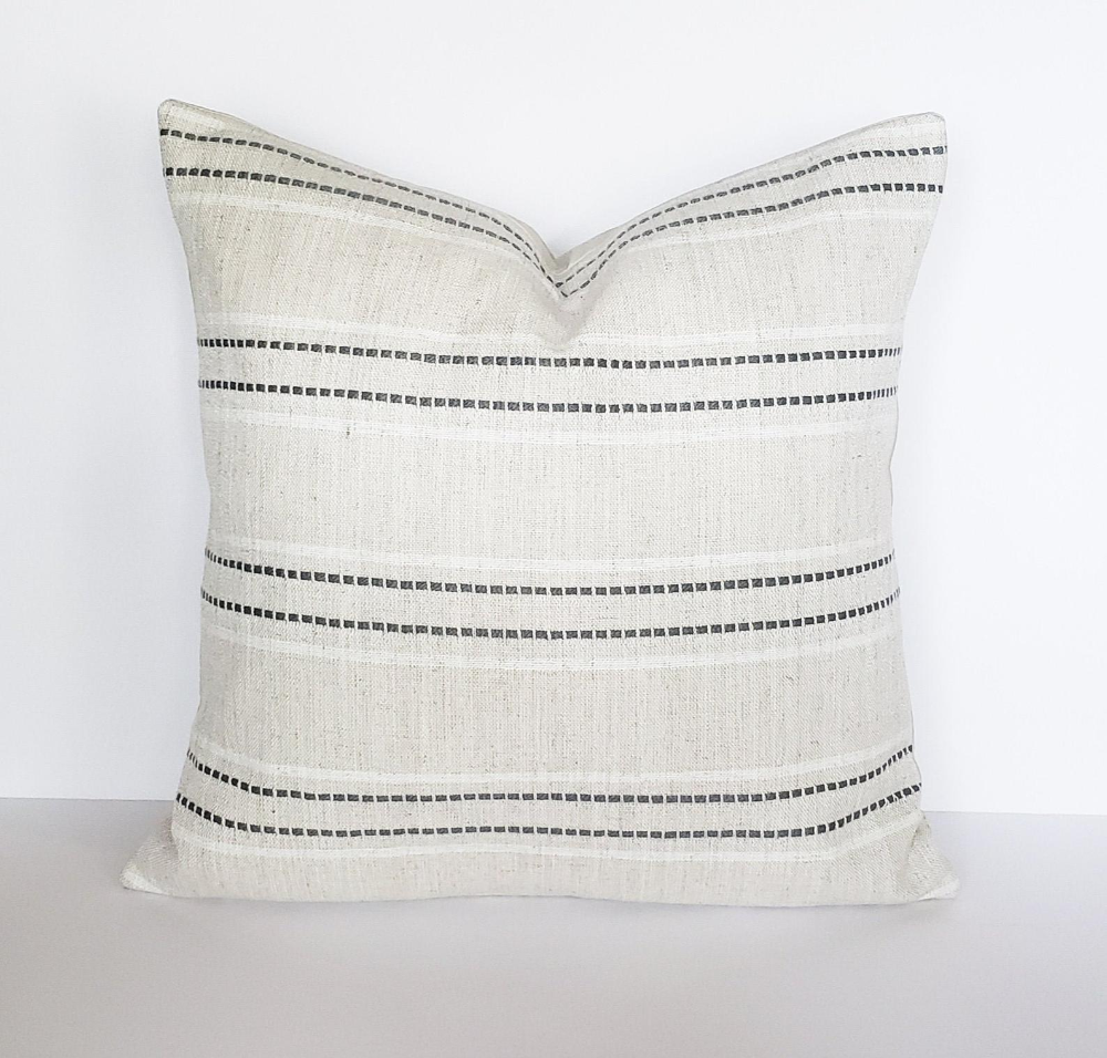 Beige and Gray Stripe Pillow Cover, Modern Style 18x18, Neutral Farmhouse Pillow, Boho Accent Throw