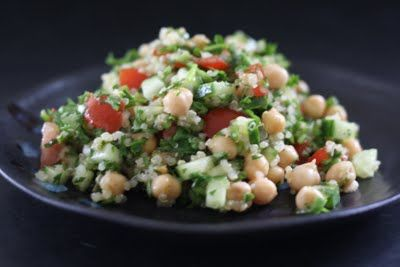 Quinoa Tabouleh. I am thinking one could substitute bulgur or couscous if you didn't have quinoa. But I have it and I LOVE it!