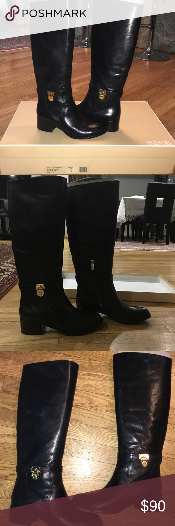 ff8c98a8f3900 Micheal kors hamilton boots MICHAEL KORS Hamilton Tall Leather Riding Boot  Boots BLACK GOLD 7 M 100% Authentic Smooth leather. Golden color hardware.