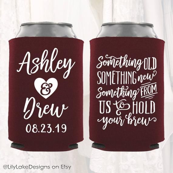 Personalized Wedding Can Cooler | Something Old Something New Hold Your Brew | Customized Wedding Favors | Beverage Insulators, Beer Huggers #personalizedwedding