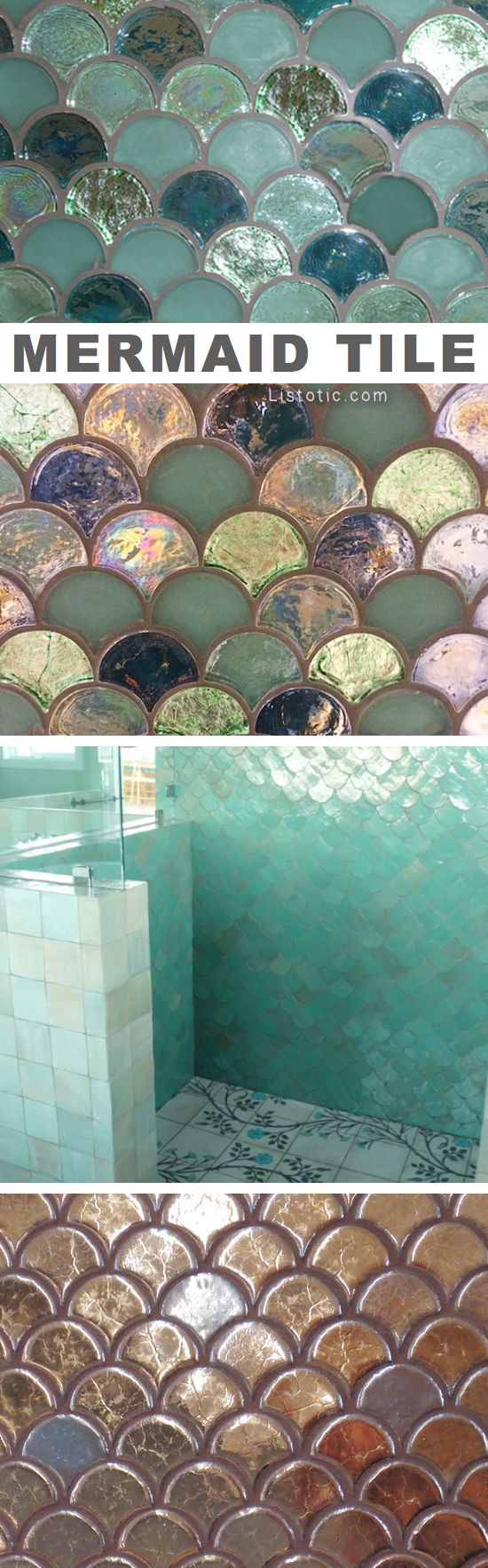 Mermaid tile ideas! Lots of gorgeous tile ideas for kitchen back ...