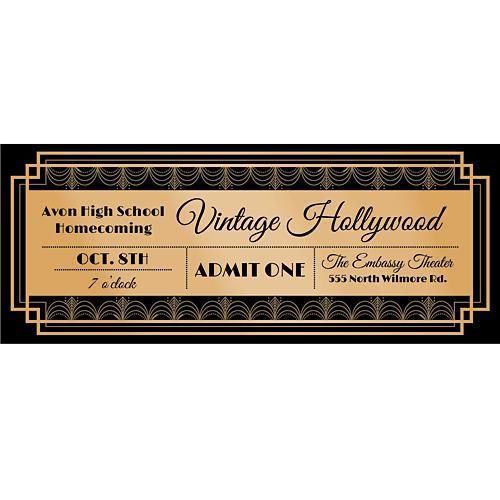 These Vintage Hollywood Custom Tickets Allow You To Add Personalization An Elegant Background That Features A Gold Border And Imprint Color Of Your