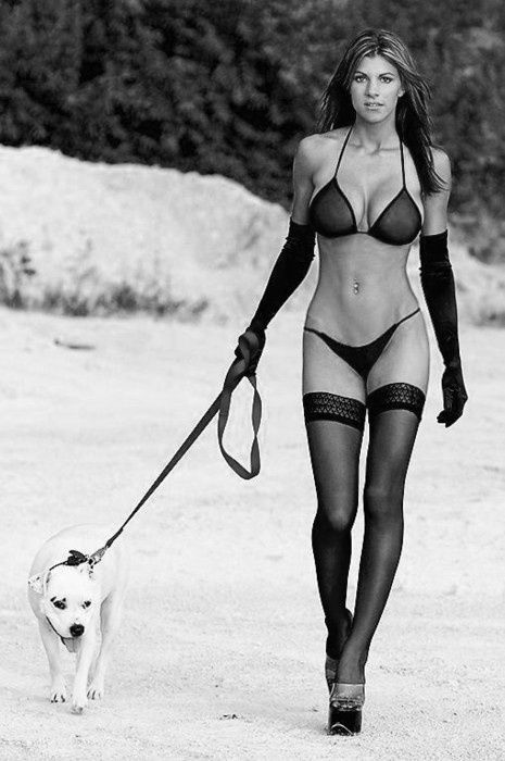 white in walking and lingerie black