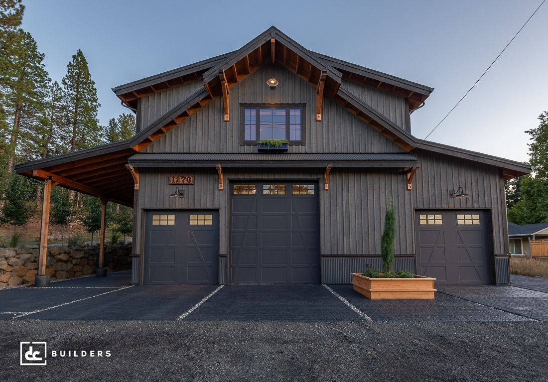 This Three Bedroom Residence Includes A 12 X 14 Overhead Garage Door To Accommodate A Large Rv In 2020 Barn Style House Barn House Barns Sheds