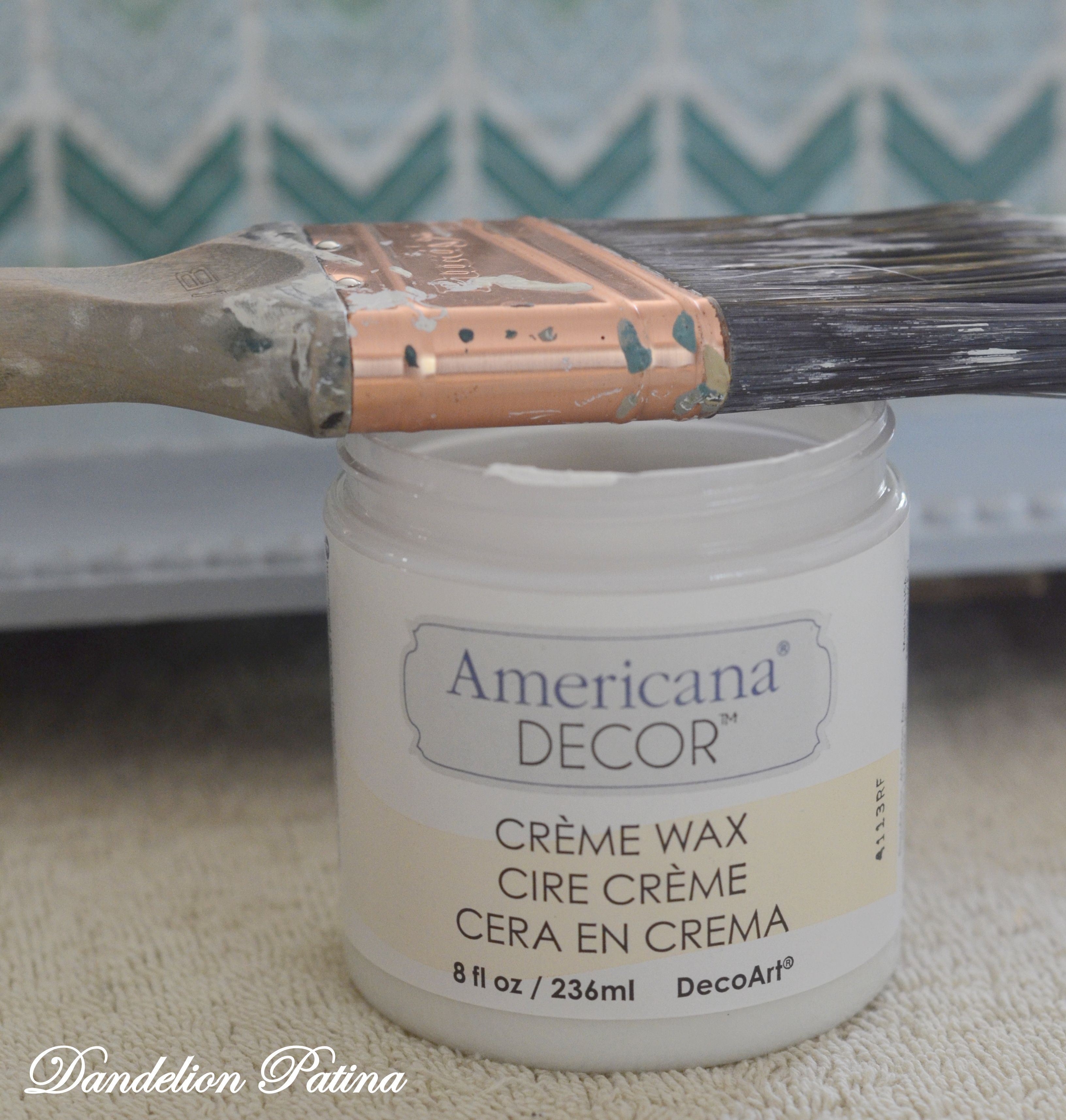 Tutorial On Using Americana Decor Creme Wax A Dated Mirror Transformation Before And After Coastal Style Dandelion Patina