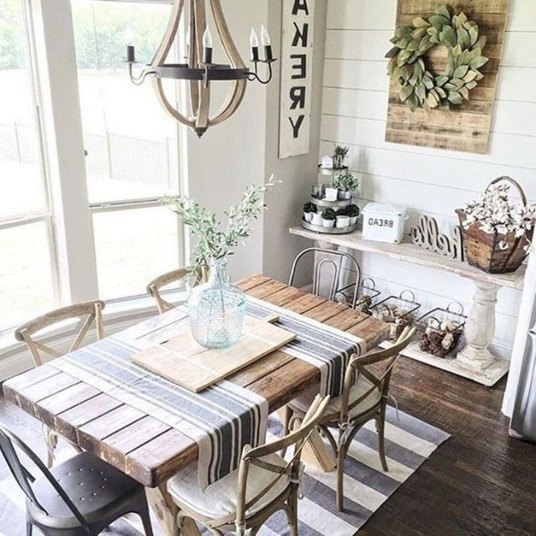 56+ Graceful Farmhouse Dining Room Table and Decorating Ideas