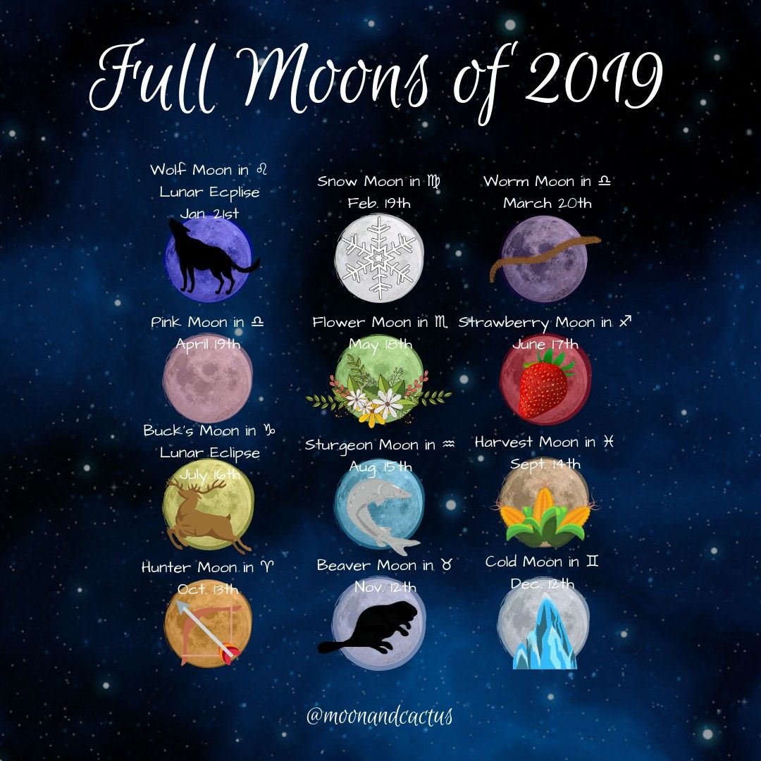 2019 full moons | Astrology | Moon meaning, Moon witch, Moon magic