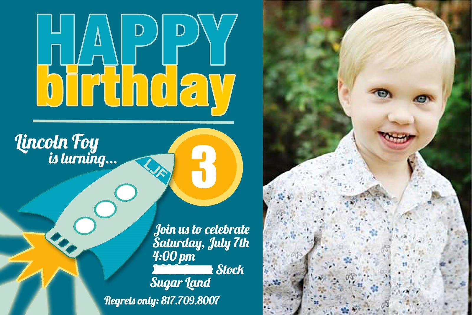 3 Years Old Birthday Invitations