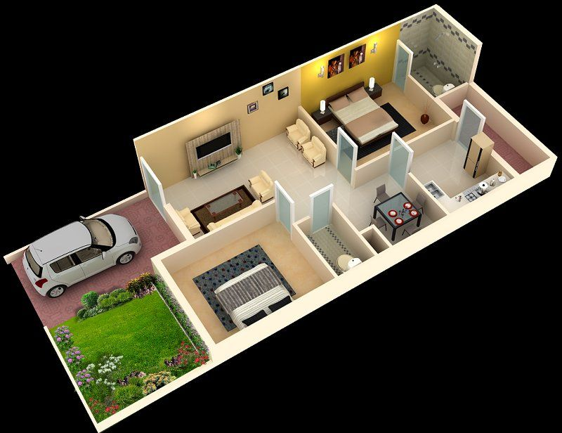 Foundation dezin decor 3d home plans sketch my for 2 bhk house designs in india