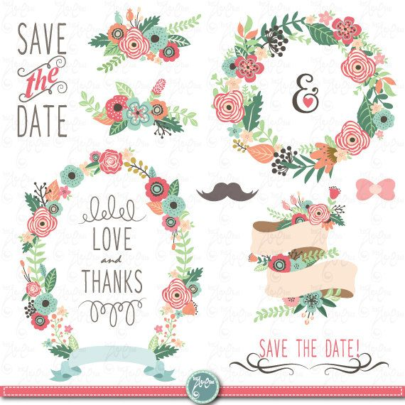 wedding clipart pack wedding flora clip artvintage flowersfloral frames