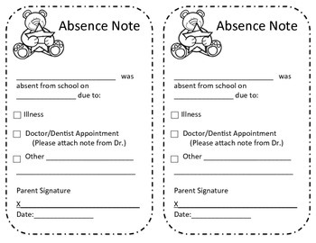 Absence excuse from school note classroom attendance for School absence note template free