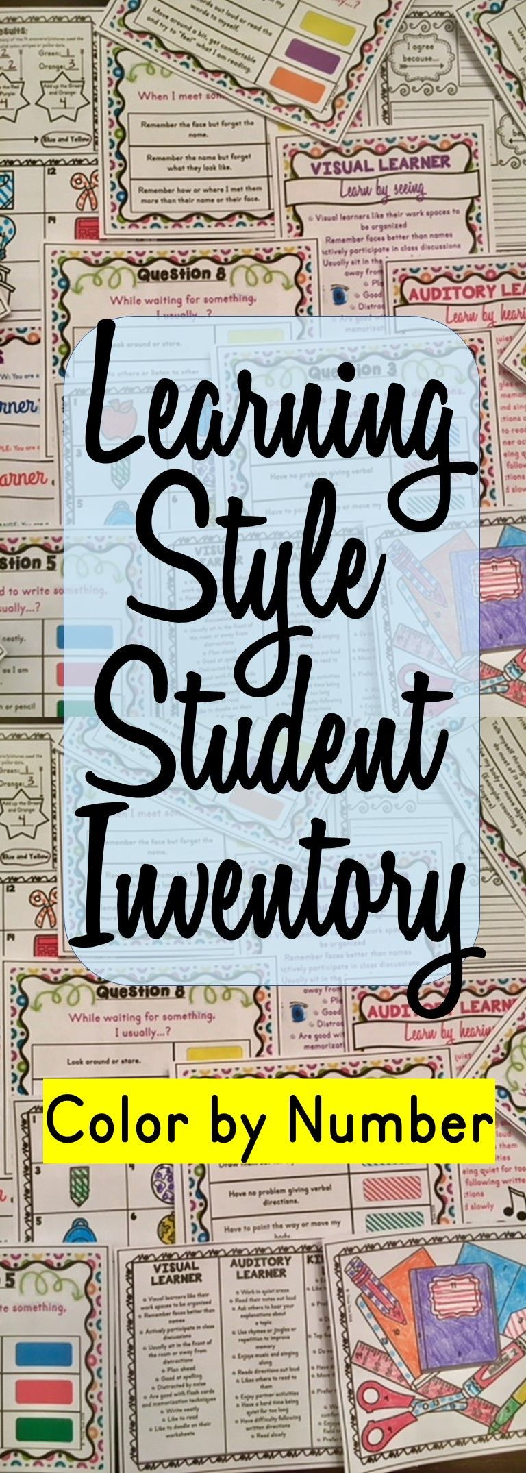 Learning Style Student Inventory : Color by Number - Back to School ...