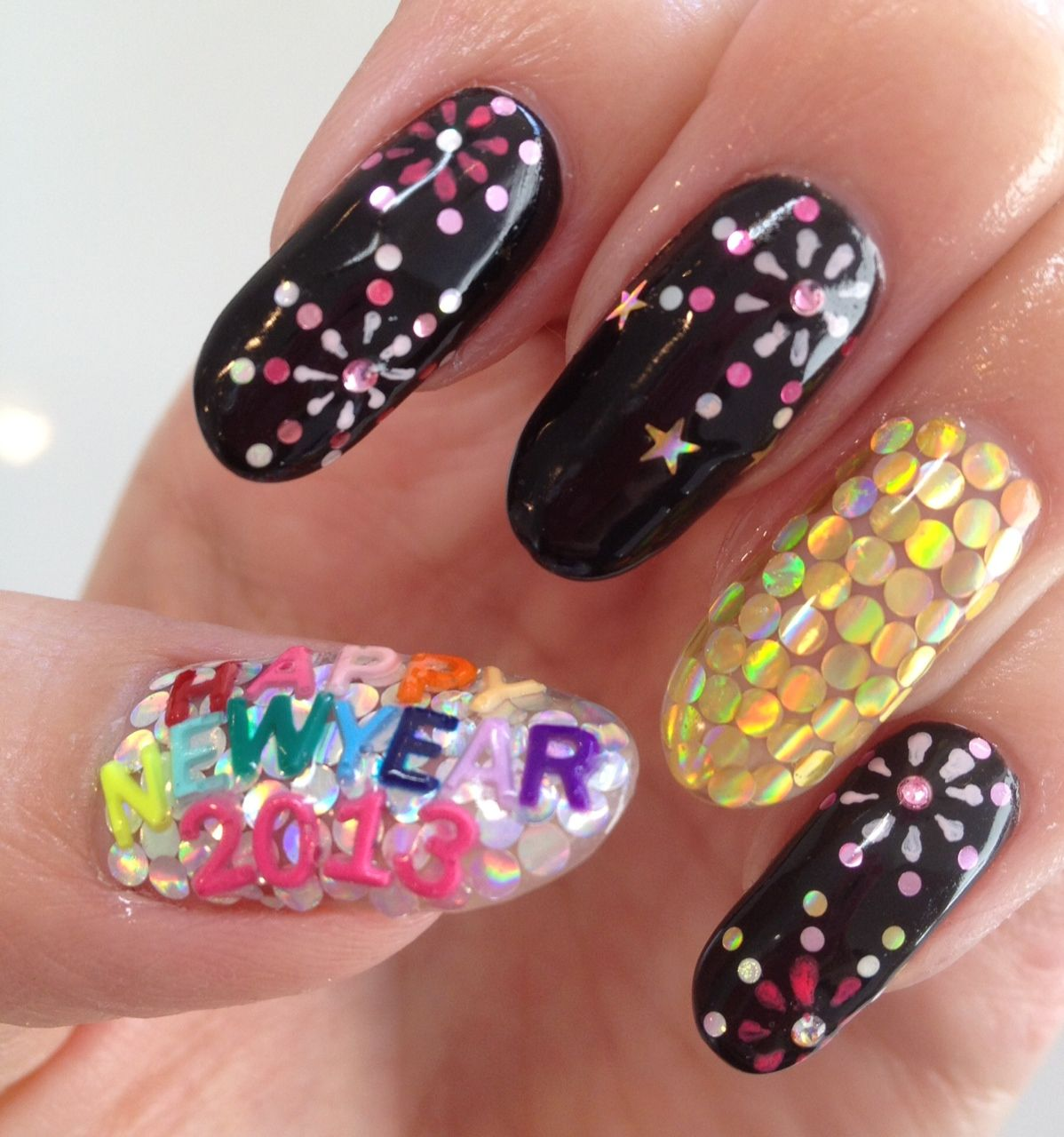 firewoks nail for new year 2013♥ New year's nails, New