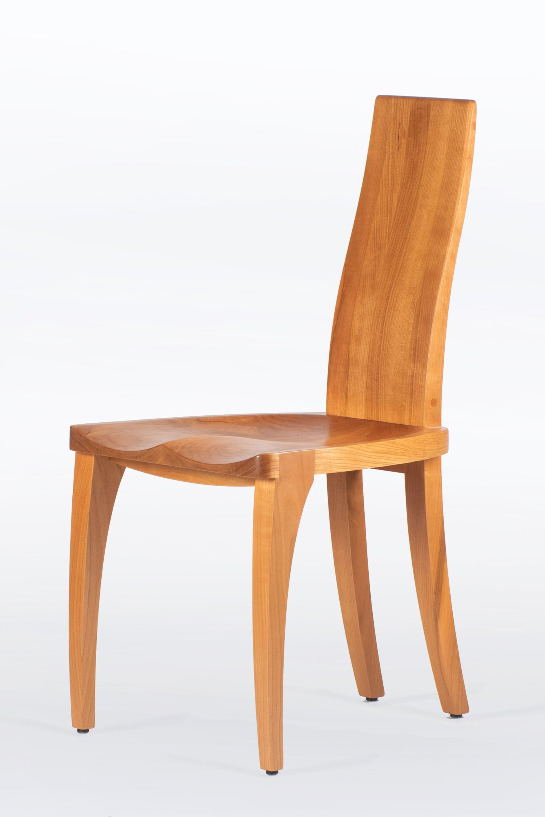 Dining Chair In Solid Cherry Wood With Scandinavian Modern Style