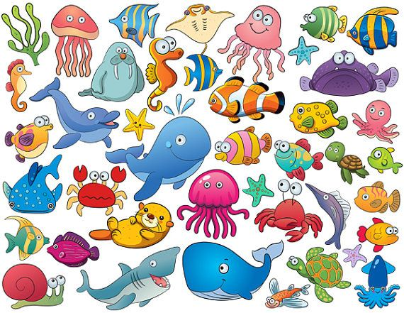 Instant Download 42 Cute Sea Animal Clip Art Cartoon Sea Animals Digital Scrapbooking Fish Element 0165 Cartoon Sea Animals Sea Animals Cartoon Fish