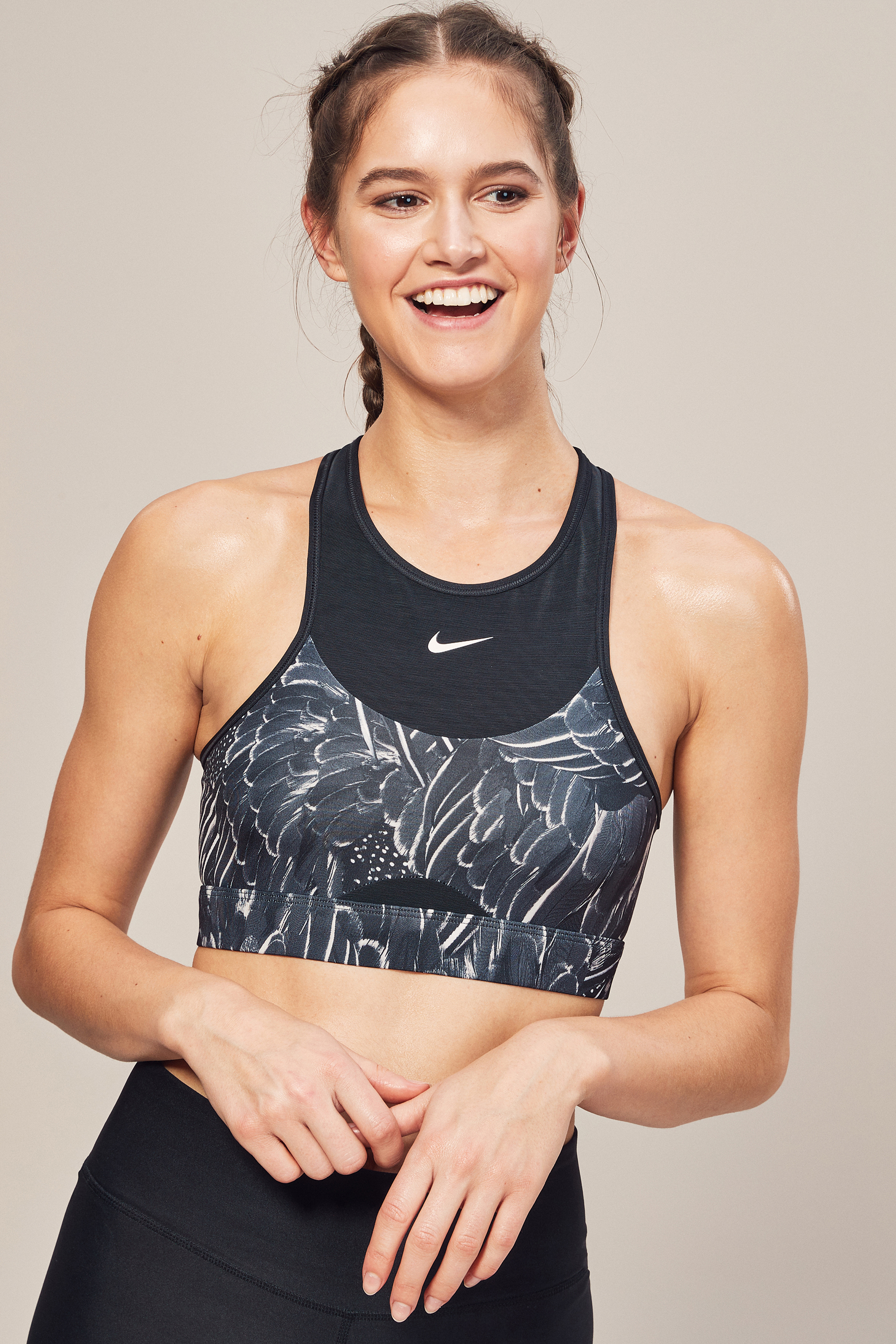 48d1d8f377 Womens Nike Swoosh Feather Curve Grey Medium Support Sports Bra - Grey