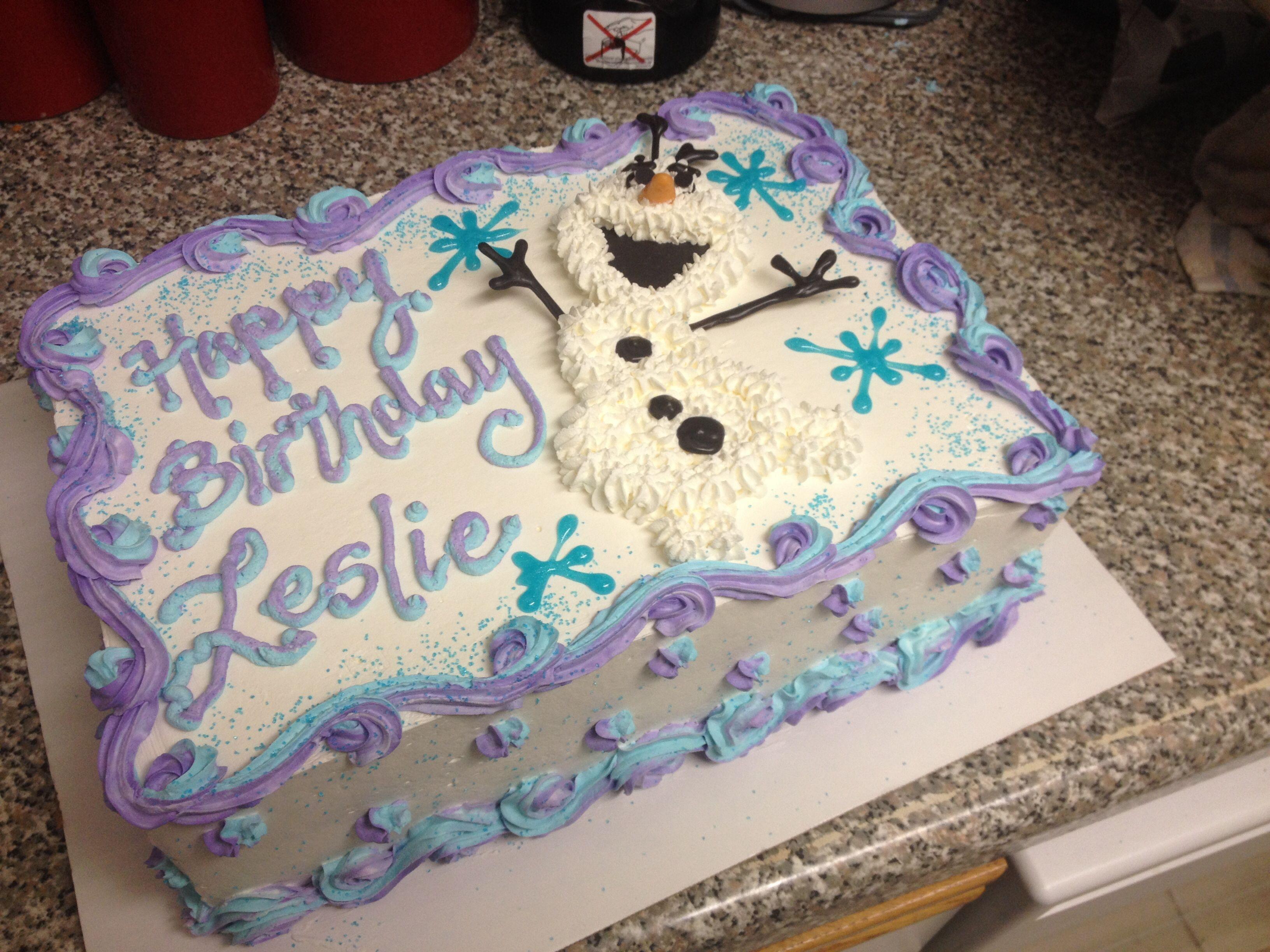 Frozen Olaf Sheet Cake MYHOMESWEETBAKERY Pinterest Olaf Cake