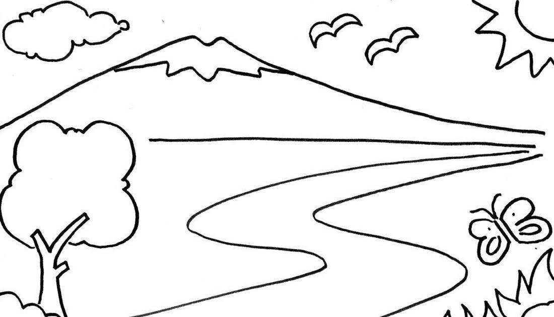 Mewarnai Pemandangan Gunung Gambar Untuk Mewarnai Anak Tk Di 2020