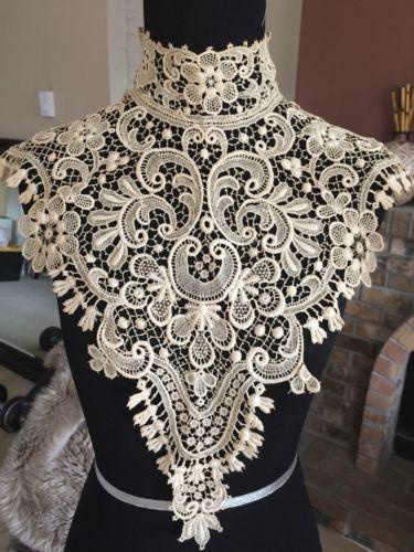 Antique VTG Victorian Crochet BOBBIN Lace Collar Museum Piece RARE #1   eBay