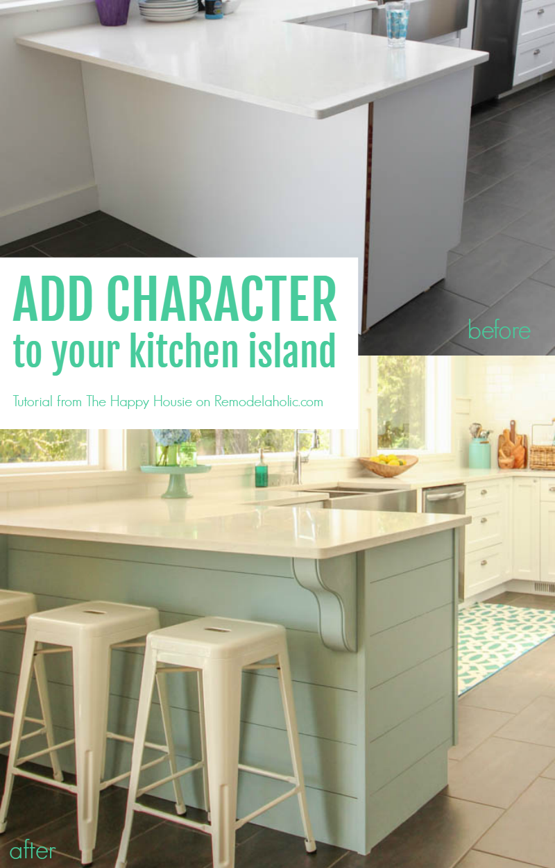 Add character to your kitchen island or peninsula by adding planks ...