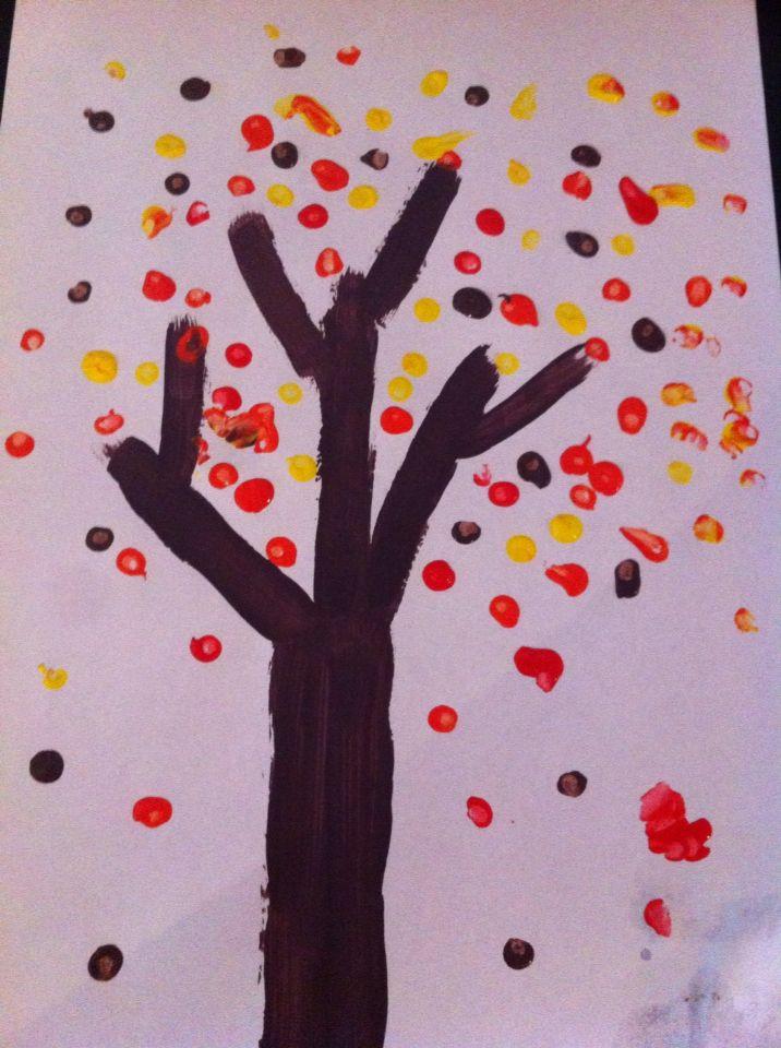 Herfstboom verven met wattenstaafjes Thema herfst Pinterest - k chenger te namen bilder